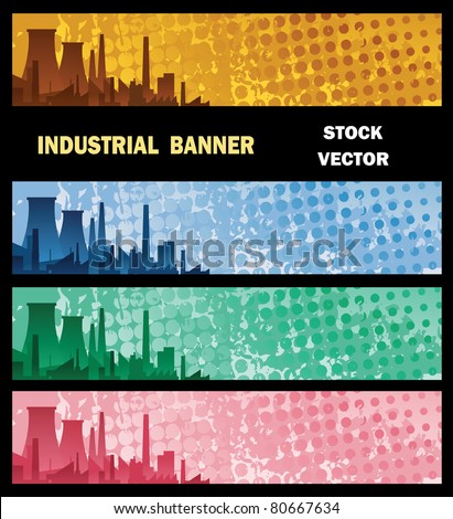 Vector banner with Industry factory, with the background color