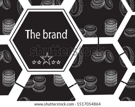 Vector banner with linear tires on a black background. Illustration for tire shop or tire fitting.