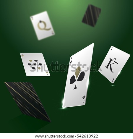 Vector banner with playing cards. Vector illustration