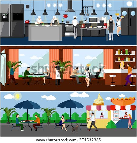 Vector banner with restaurant interiors. Kitchen, dining room and street cafe. Vector illustration in flat design.