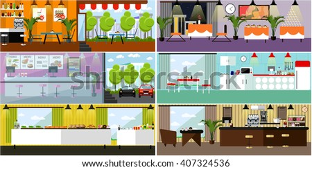 Restaurant Kitchen Illustration restaurant furniture - download free vector art, stock graphics