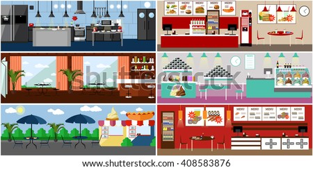 Vector banner with restaurant interiors. Kitchen, dining room, street cafe and fast food restaurant. Illustration in flat design.