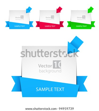 Vector banner with ribbon and color arrows