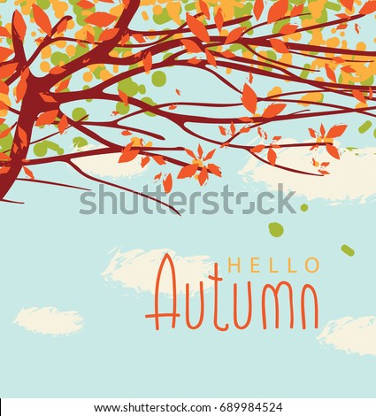 Stock Photo Vector banner with the words Hello autumn. Autumn landscape with autumn leaves on the branches of trees in a Park or forest on a background of blue sky with clouds