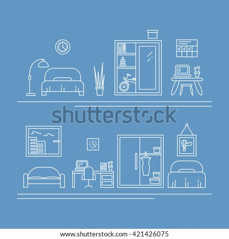 Vector banner with thin line icons. Interior decoration elements, living room, furniture and decor for apartment. Children room and women room concepts with bed, work place, wardrobe, sofa.