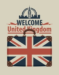 Vector banner with words Welcome to United Kingdom. Tourist suitcase with the flag of Great Britain, passenger planes and image of London Big Ben