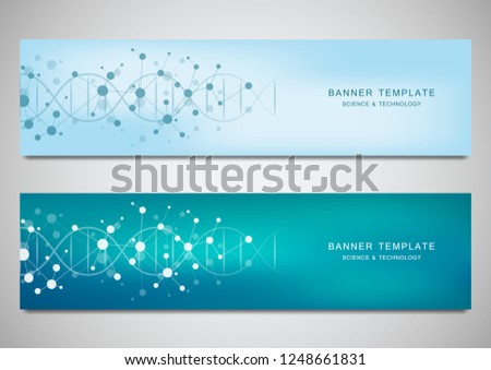 Vector banners and headers for site with DNA strand and molecular structure. Genetic engineering or laboratory research. Abstract geometric texture for medical, science and technology design