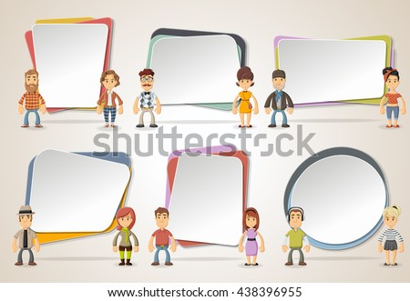 Vector Banners Backgrounds With Hipster People Wearing Vintage Clothes Design Text Box Frames