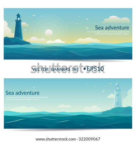vector banners blue sea