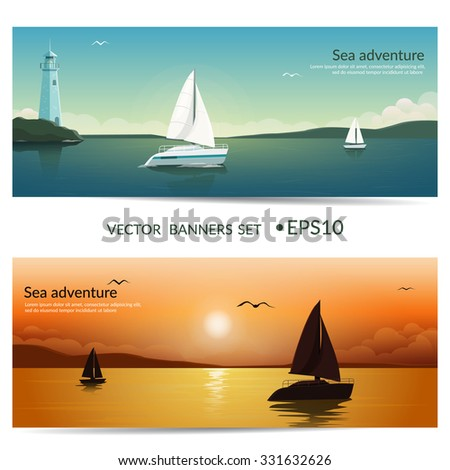 Vector banners. Blue sea  with yachts and lighthouse. Sunset at sea with yachts.  Sea voyage on the yacht. Yachting.