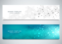 Vector banners design for medicine, science and digital technology. Molecular structure background and communication with connected lines and dots