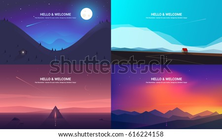 Shutterstock Vector banners set with polygonal landscape illustration - flat design
