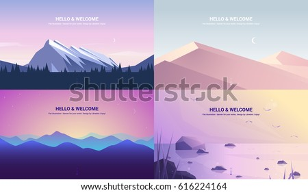 Vector banners set with polygonal landscape illustration - flat design
