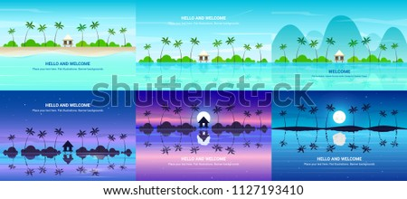 vector banners set with summer
