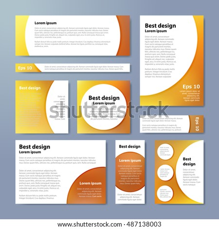 Vector banners set with yellow blur background and circle white elements #487138003