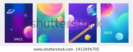 Vector banners. Space trip. Universe. Colorful templates for covers, flyers, posters. EPS 10