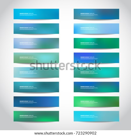 Vector banners templates or website headers, footers with abstract blue mesh background. Vector design illustration EPS10