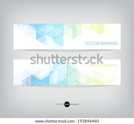Vector banners with abstract multicolored polygonal mosaic background. Modern geometric triangular pattern. Business design template. Light blue, green and yellow colors #193846460