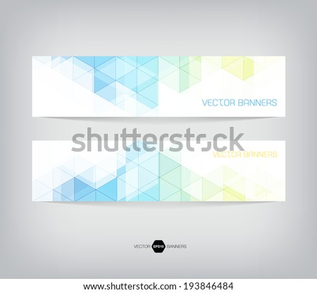 Vector banners with abstract multicolored polygonal mosaic background. Modern geometric triangular pattern. Business design template. Light blue, green and yellow colors #193846484