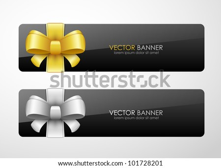 Vector banners with bow