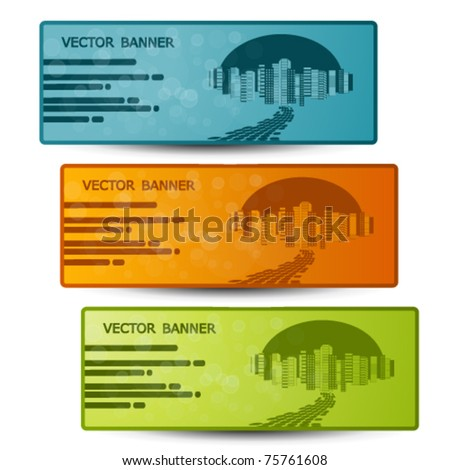 Vector banners with design of city