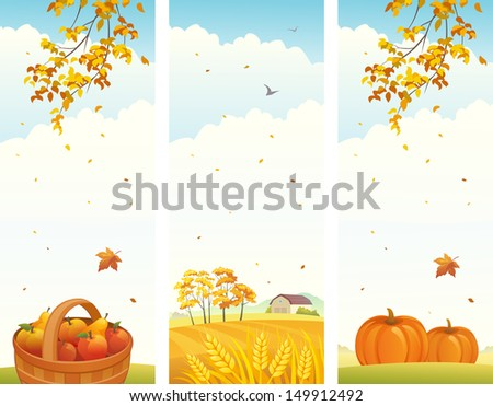 vector banners with fall