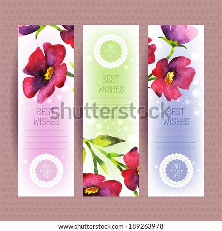 Vector banners with watercolor flowers.