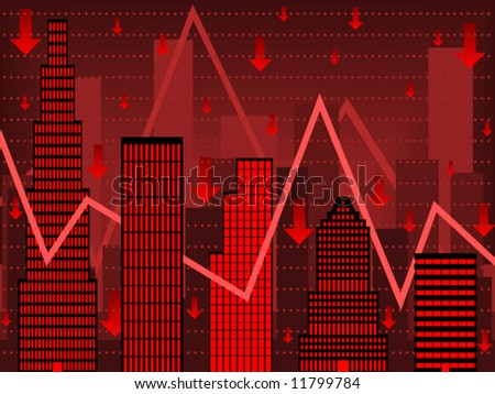 Vector Bar chart composed of stylized buildings implying financial bust