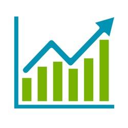 vector bar chart illustration, business graph. data growth diagram