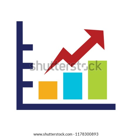 vector bar chart illustration, business graph. data growth diagram