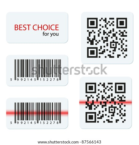 Shutterstock vector bar code and qr code for your design 87566143
