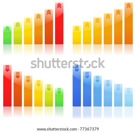 Vector Bar Graphs on white background