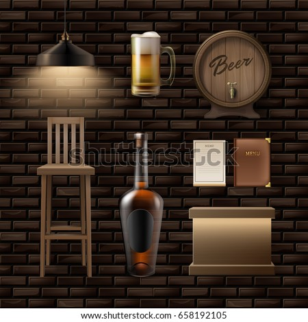Vector bar, pub stuff: stool, counter, alcohol bottle, mug of beer, menu, barrel and lamp
