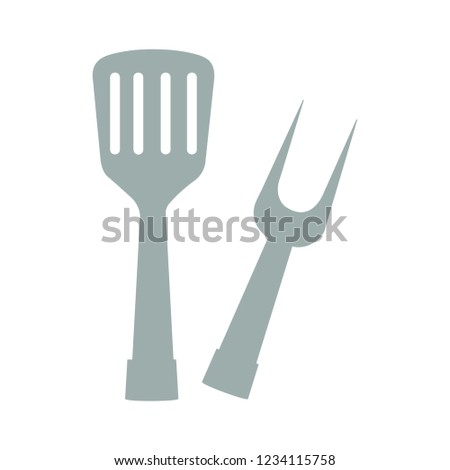 vector barbecue grill tools sign icon illustration - kitchen tools sign symbol. fork vector icon