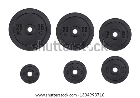 vector barbell plates, Gym equipment 25, 20, 15, 10, 5 & 2,5 kg, Weight for sport isolated on white background
