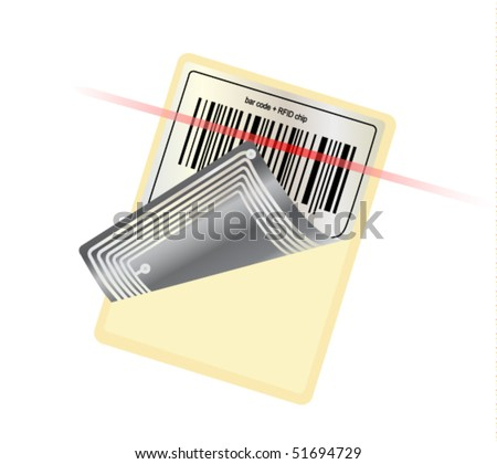 vector barcode with RFID chip+ laser beam - stock vector