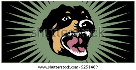 vector Barking Doberman Dog illustration - stock vector