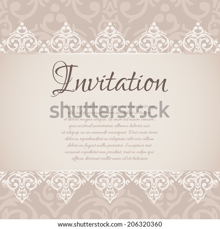 Vector baroque damask luxury invitation #206320360