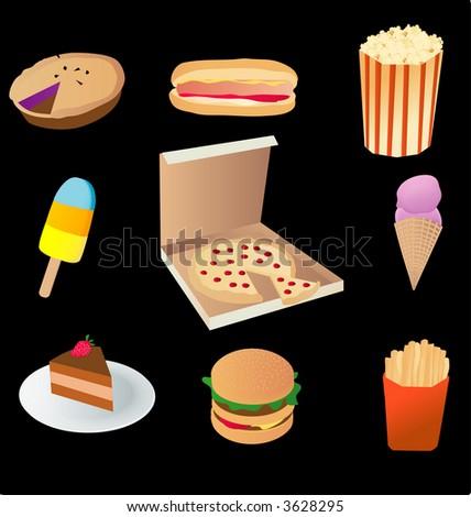 vector based illustration of various junk food