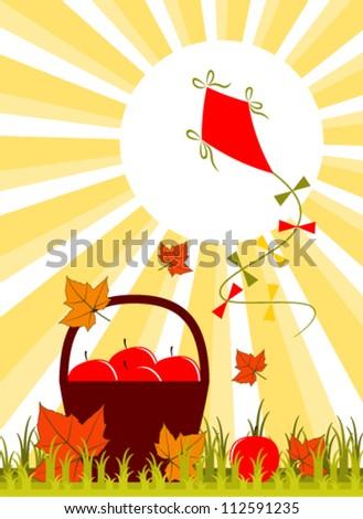 vector basket of apples, fallen leaves and kite