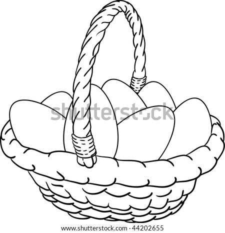 vector - basket of Easter eggs - stock vector