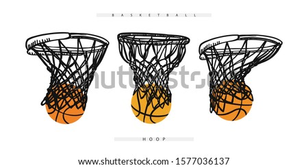 Vector basketball hoop with the ball. Collection of sports elements for the design of banners, posters, flyers. Stock photo ©