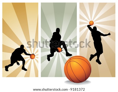 Vector Basketball Players. Easy change colors. (Check out my portfolio for other silhouettes) - stock vector