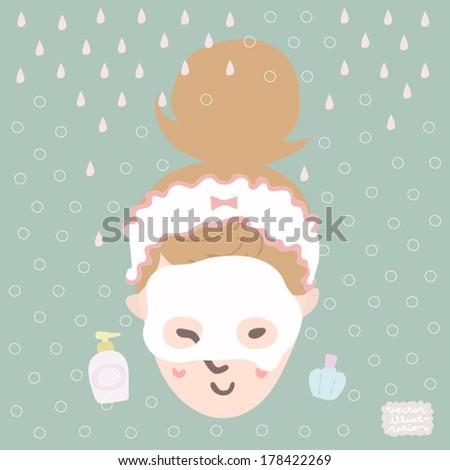 Vector Bath time Face pack Illustration