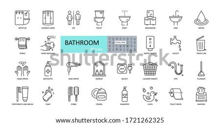 Vector bathroom icons. Editable Stroke. Shower, bath, toilet, bidet, mirror, water tap. Laundry and garbage basket. Cosmetics shampoo comb cream. Toilet paper napkins