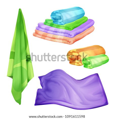 Vector bathroom, spa colored towel set. Realistic folded, hanging fluffy cotton objects, shower or kitchen household object. 3d fabric soft cloth for drying skin, personal hygiene. #1091611598
