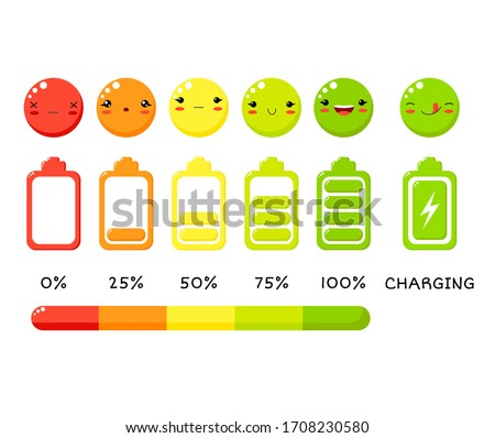 Vector battery charge indicator icon set. Different level of charge for battery. Vector emoji symbol and ranking bar for battery charging level. Status of batteries. Smiles in kawaii style. EPS8