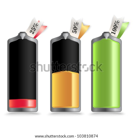 Vector battery - charge status with small labels