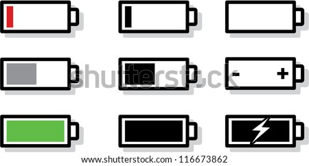 vector battery gauge symbol icons