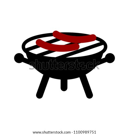 vector bbq grill illustration - food party icon, outdoor picnic barbecue